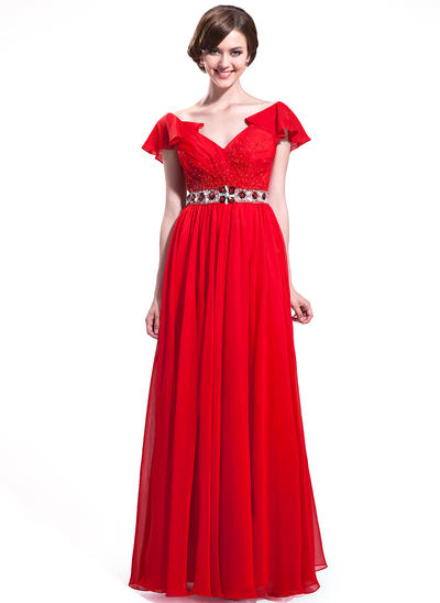 Chiffon Short Sleeves A-Line/Princess Prom Dresses V-neck Beading Sequins Cascading Ruffles Floor-Length (018025635)