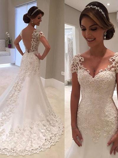 Simple Court Train Trumpet/Mermaid Wedding Dresses V-neck Tulle Short Sleeves (002218072)