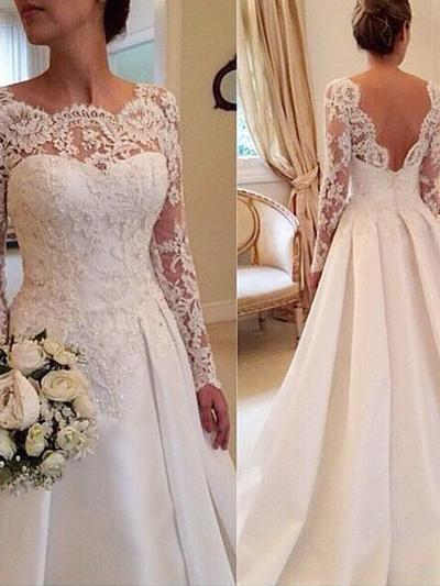 Gorgeous Court Train Ball-Gown Wedding Dresses Scoop Satin Lace Long Sleeves (002144849)