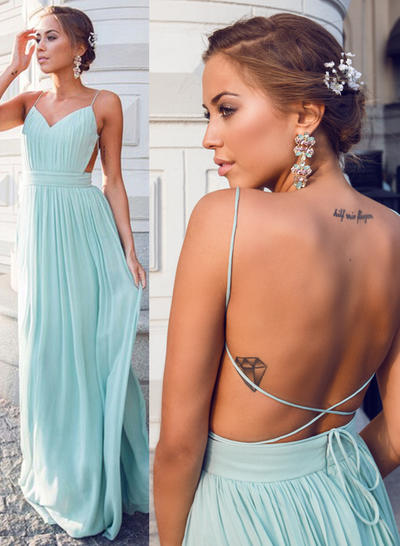 Chiffon Sleeveless A-Line/Princess Prom Dresses V-neck Ruffle Floor-Length (018210999)