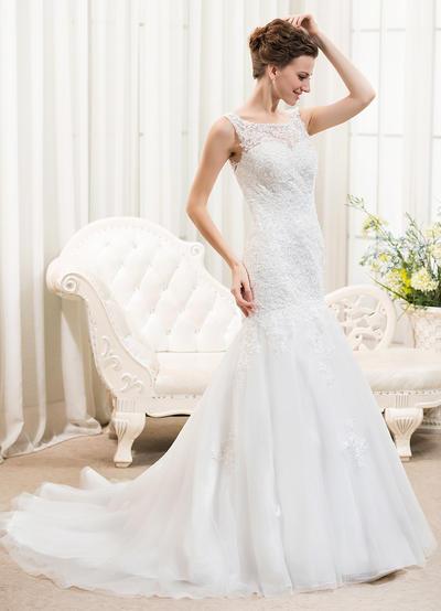 Elegant Court Train Trumpet/Mermaid Wedding Dresses Scoop Tulle Lace Sleeveless (002210568)