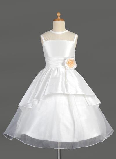 Mode Wadenlang A-Linie/Princess-Linie Blumenmädchenkleider U-Ausschnitt Taft/Organza Ärmellos (010014644)