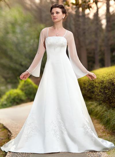 Fashion Chapel Train A-Line/Princess Wedding Dresses Square Chiffon Satin Long Sleeves (002211299)