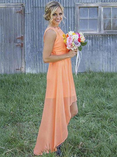 Chiffon Sleeveless A-Line/Princess Bridesmaid Dresses Scoop Neck Ruffle Asymmetrical (007211694)