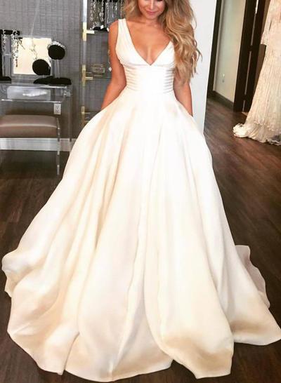 Sweetheart Sweep Train Ball-Gown Wedding Dresses V-neck Satin Sleeveless (002213572)