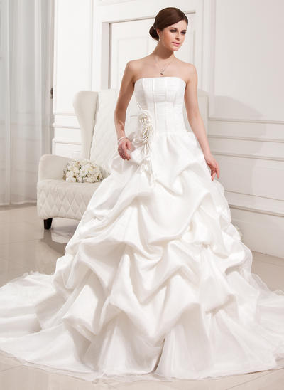 Sweetheart Cathedral Train Ball-Gown Wedding Dresses Strapless Satin Organza Sleeveless (002196840)
