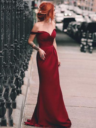Satin Sleeveless Sheath/Column Prom Dresses Off-the-Shoulder Ruffle Sweep Train (018219248)