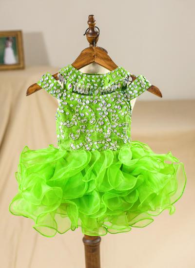 Princess Knee-length A-Line/Princess Flower Girl Dresses Scoop Neck Organza Sleeveless (010211648)