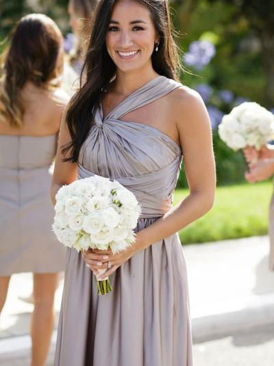 Taffeta Sleeveless A-Line/Princess Bridesmaid Dresses Halter Ruffle Floor-Length (007212238)