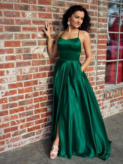 A-Line/Princess Square Neckline Satin Sleeveless Sweep Train Ruffle Split Front Evening Dresses (017219201)