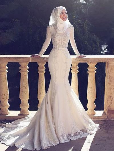 Chic Sweep Train Trumpet/Mermaid Wedding Dresses Scoop Tulle Long Sleeves (002217910)