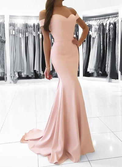 Trumpet/Mermaid Off-the-Shoulder Charmeuse Sleeveless Sweep Train Evening Dresses (017210042)