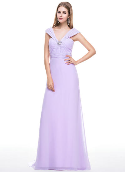 Trumpet/Mermaid V-neck Chiffon Sleeveless Sweep Train Ruffle Beading Sequins Bow(s) Evening Dresses (017056628)
