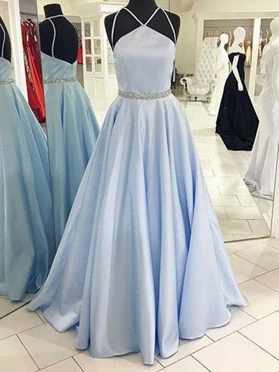 Satin Sleeveless A-Line/Princess Prom Dresses Halter Sash Beading Floor-Length (018210388)