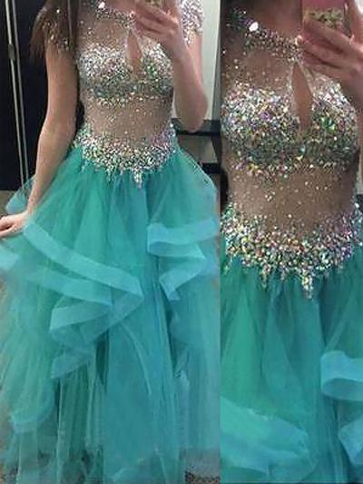 Organza Short Sleeves Ball-Gown Prom Dresses Scoop Neck Beading Floor-Length (018210340)