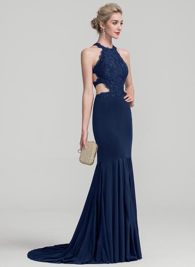 Trumpet/Mermaid Scoop Neck Sweep Train Jersey Prom Dresses (018138549)