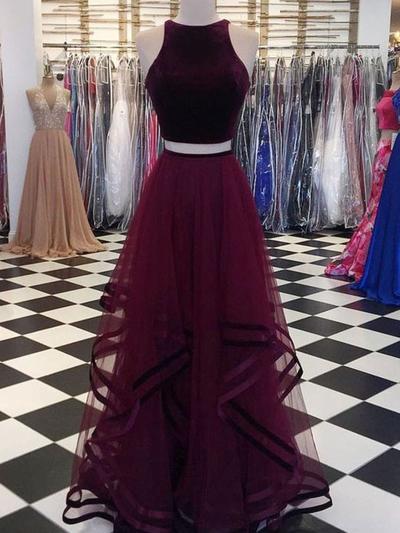 Tulle Sleeveless A-Line/Princess Prom Dresses Scoop Neck Ruffle Floor-Length (018219250)