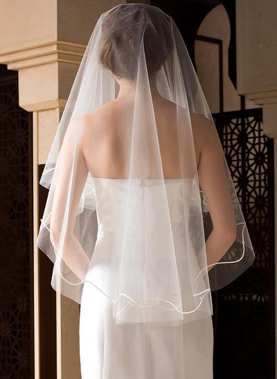 Fingerspitze Braut Schleier Tüll Einschichtig Klassische Art mit Schnittkante Brautschleier (006151502)