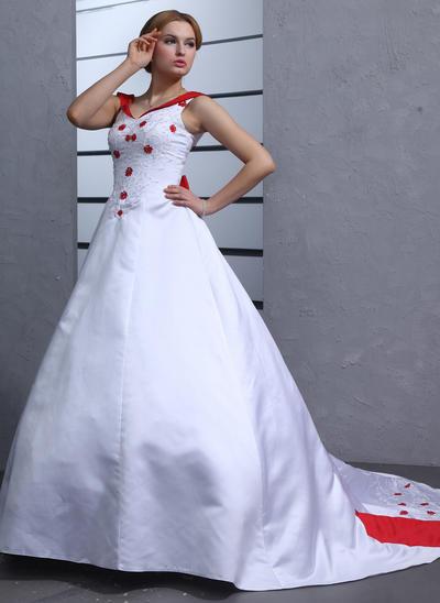 Princess Chapel Train Ball-Gown Wedding Dresses Sweetheart Satin Sleeveless (002211285)