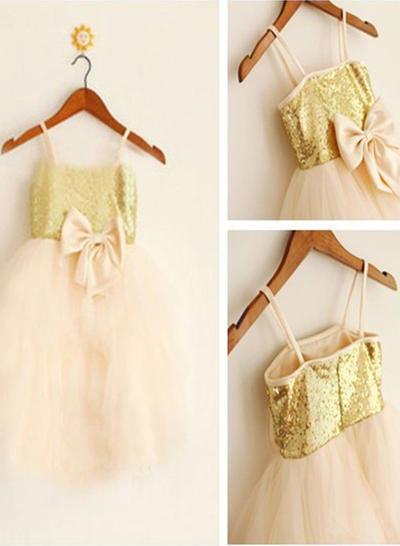 Sweetheart Knee-length A-Line/Princess Flower Girl Dresses Straps Tulle/Sequined Sleeveless (010211906)
