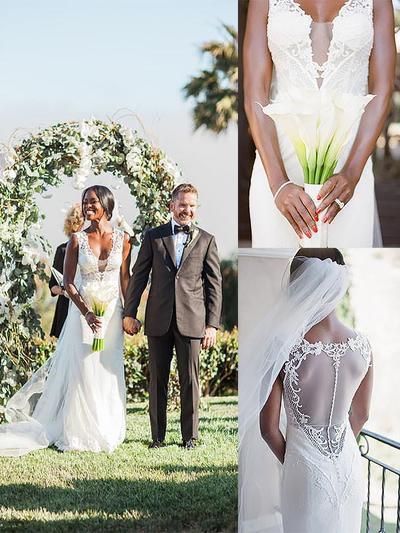 Sexy Sweep Train Sheath/Column Wedding Dresses Deep V Neck Tulle Sleeveless (002147990)