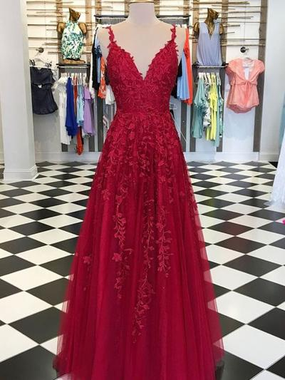 Tulle Sleeveless A-Line/Princess Prom Dresses V-neck Appliques Lace Floor-Length (018218085)