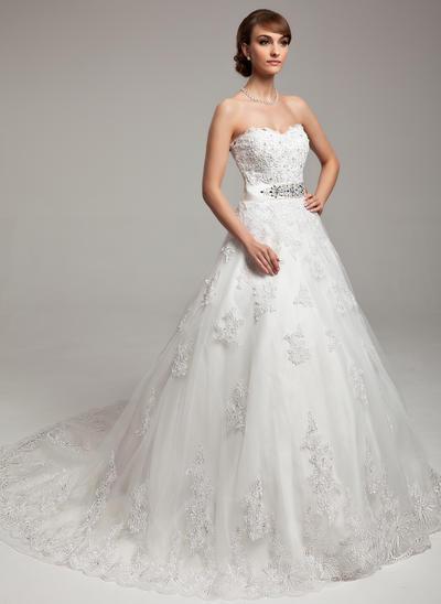 Chic Chapel Train Ball-Gown Wedding Dresses Sweetheart Organza Sleeveless (002211441)