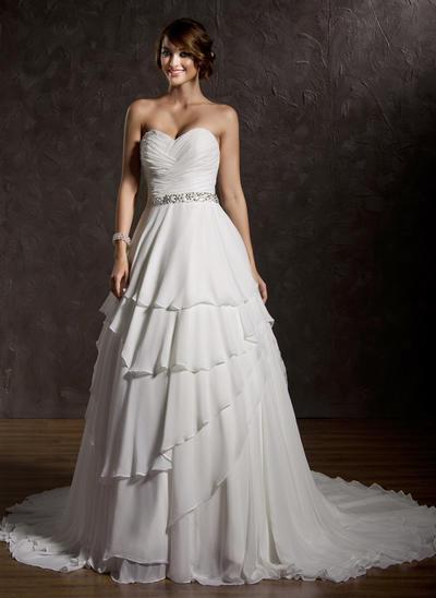 Flattering Court Train Ball-Gown Wedding Dresses Sweetheart Chiffon Sleeveless (002196845)