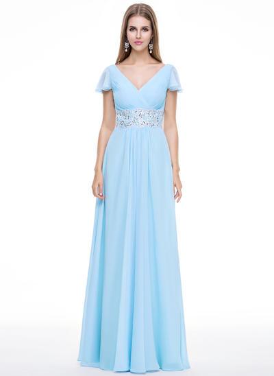A-Line/Princess V-neck Chiffon Short Sleeves Floor-Length Beading Appliques Lace Sequins Cascading Ruffles Evening Dresses (017056499)