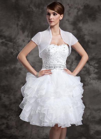 Fashion Knee-Length A-Line/Princess Wedding Dresses Sweetheart Satin Organza Sleeveless (002024083)