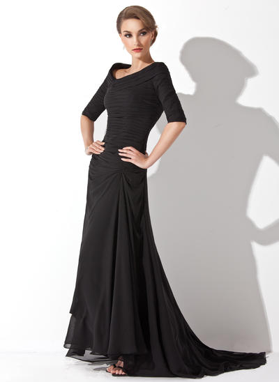 A-Line/Princess V-neck Chiffon 1/2 Sleeves Asymmetrical Ruffle Evening Dresses (017200832)