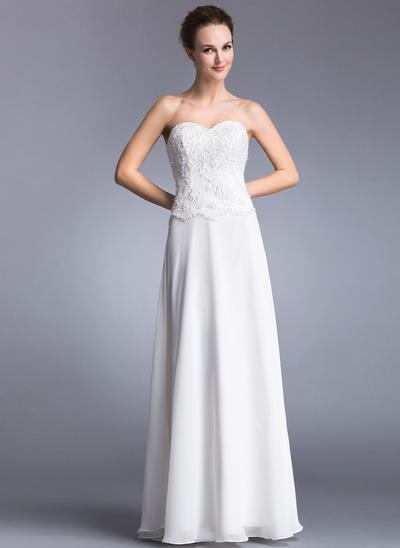 Chiffon Sleeveless A-Line/Princess Prom Dresses Sweetheart Lace Beading Sequins Floor-Length (018041025)