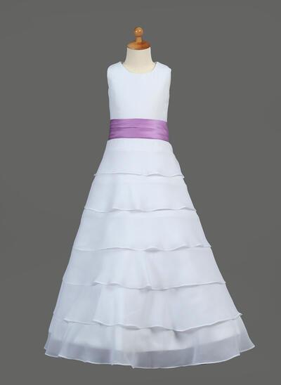 Beautiful Floor-length A-Line/Princess Flower Girl Dresses Scoop Neck Chiffon/Charmeuse Sleeveless (010212050)