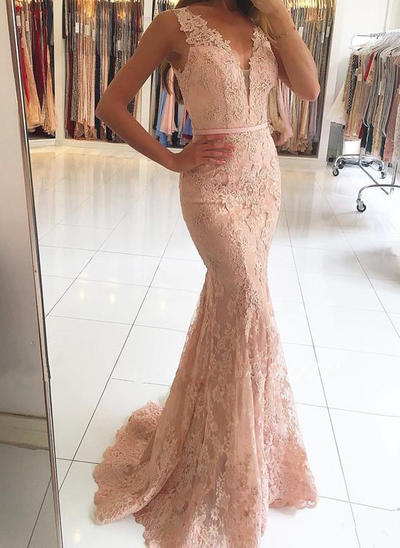Trumpet/Mermaid V-neck Tulle Lace Sleeveless Sweep Train Beading Sequins Evening Dresses (017146423)