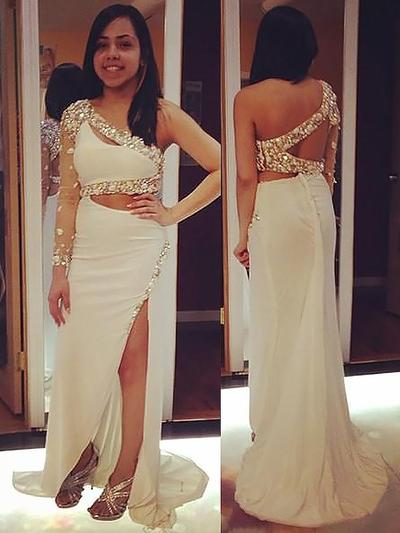 Chiffon Long Sleeves Sheath/Column Prom Dresses One-Shoulder Beading Appliques Lace Sequins Split Front Sweep Train (018148456)