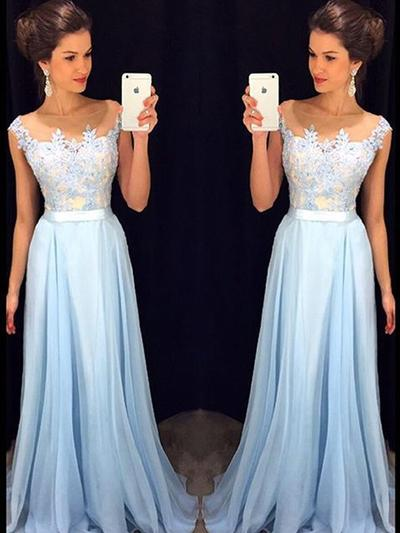 A-Line/Princess Scoop Neck Chiffon Sleeveless Floor-Length Evening Dresses (017145406)