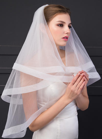 Fingertip Bridal Veils One-tier Angel cut/Waterfall With Ribbon Edge 70.87 in (180cm) Wedding Veils (006152547)
