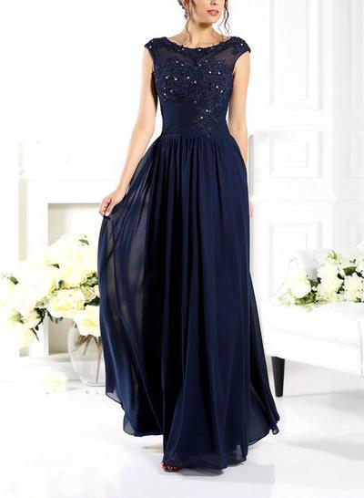 A-Line/Princess Scoop Neck Chiffon Sleeveless Floor-Length Beading Evening Dresses (017210884)