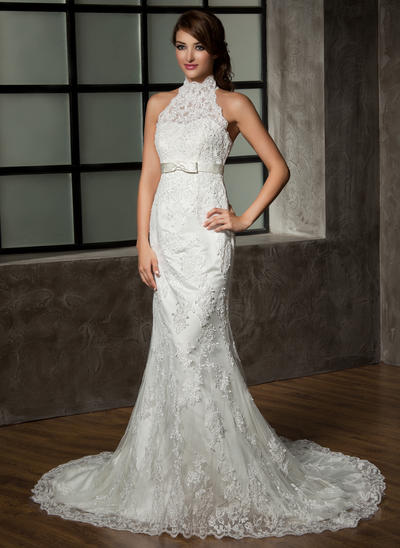 Newest Chapel Train Trumpet/Mermaid Wedding Dresses Halter Tulle Lace Sleeveless (002210410)