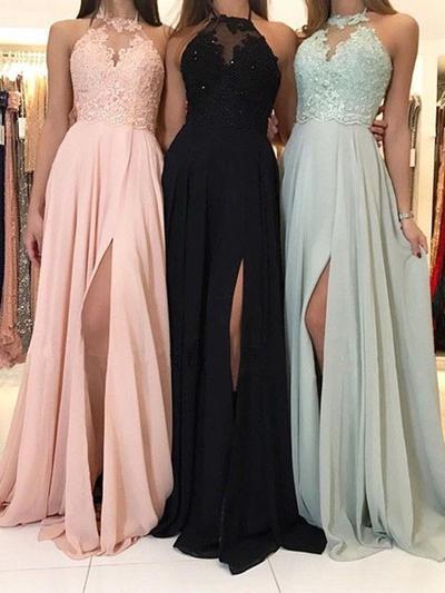 Chiffon Sleeveless A-Line/Princess Prom Dresses Halter Lace Beading Sweep Train (018218339)
