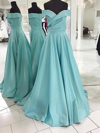 Satin Sleeveless A-Line/Princess Prom Dresses Off-the-Shoulder Sweep Train (018148472)