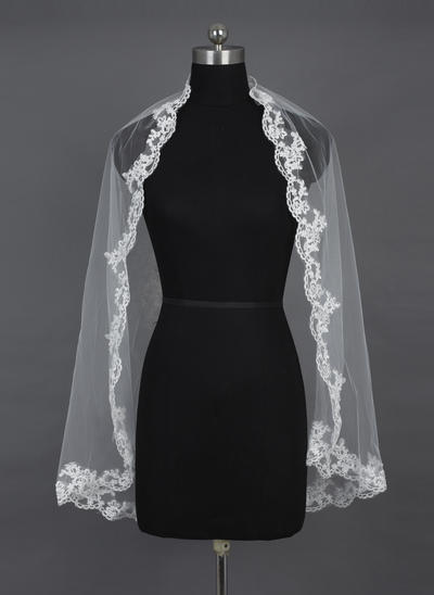 Elbow Bridal Veils Tulle One-tier Mantilla/Rectangular With Lace Applique Edge Wedding Veils (006151554)