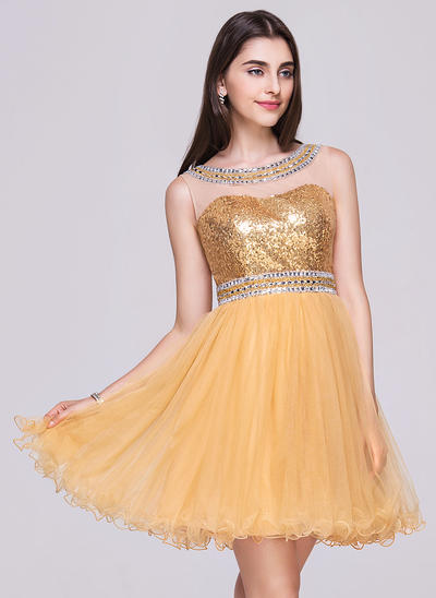 A-Line/Princess Scoop Neck Tulle Sequined Sleeveless Short/Mini Beading Homecoming Dresses (022068033)