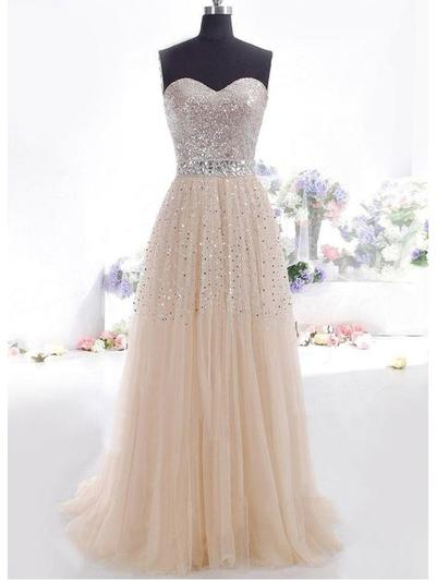 Tulle Sleeveless A-Line/Princess Prom Dresses Sweetheart Beading Sequins Floor-Length (018196653)