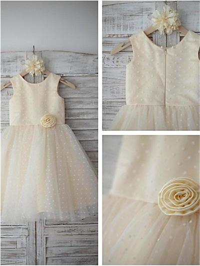 Gorgeous Tea-length A-Line/Princess Flower Girl Dresses Scoop Neck Satin/Tulle Sleeveless (010212029)