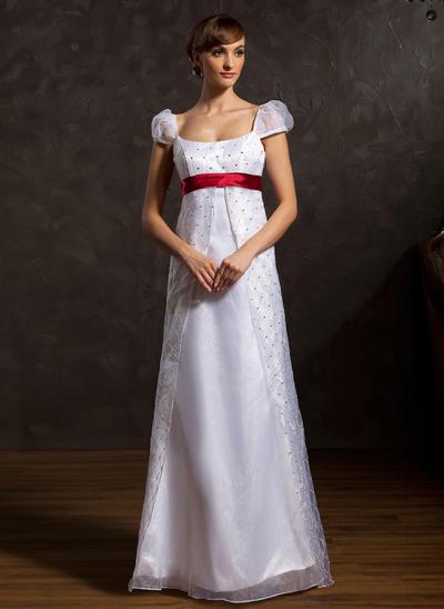 Beautiful Floor-Length A-Line/Princess Wedding Dresses Scoop Organza Sleeveless (002196891)