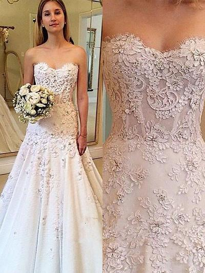 Princess Court Train A-Line/Princess Wedding Dresses Sweetheart Satin Sleeveless (002210867)