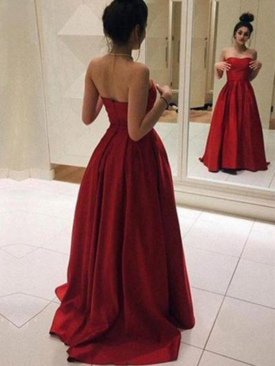 Satin Sleeveless A-Line/Princess Prom Dresses Strapless Ruffle Sweep Train (018218643)