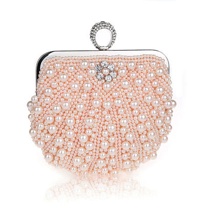 Clutches/Wristlets/Totes/Bridal Purse/Fashion Handbags/Makeup Bags/Luxury Clutches Wedding/Ceremony & Party/Casual & Shopping/Office & Career Pearl Snap Closure Elegant Clutches & Evening Bags (012187896)