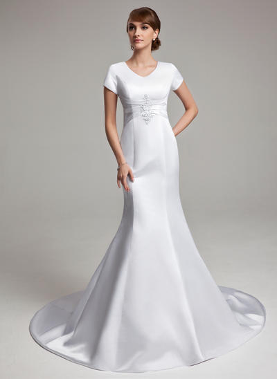 Stunning Chapel Train Trumpet/Mermaid Wedding Dresses Sweetheart Satin Short Sleeves (002001670)